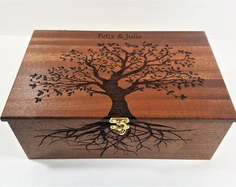 Personalized Tree of Life Memory Box 12x8x4, Custom Hand Made Wood Storage Box, Personalized Memory Box, Personalized Keep Sake Box,