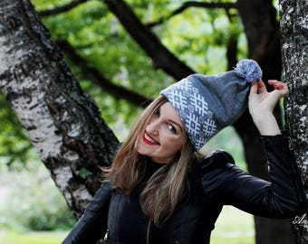 Stylish Knitted Gray Hat Beanie Slouchy Autumn Winter Spring Fashion Accessories Womens Teen Ski hat Baggy