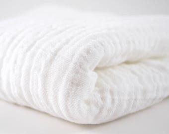 "Double Gauze Fabric White - half yard - Sunny Double Gauze - 100% cotton muslin, 52"" wide - perfect for making baby swaddle blankets"