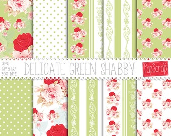 "Shabby chic digital paper : ""Delicate Green Shabby"" floral digital paper with shabby roses on green background, decoupage paper, download"