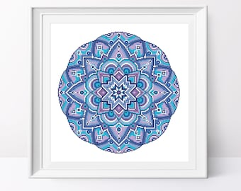 Blue mandala cross stitch pattern Geometric cross stitch pdf Geometric cross stitch design Mandala counted cross stitch Mandala xstitch pdf