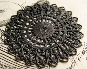 Sunburst circle filigree, 45mm, antiqued black brass, large round medallion flat round filigree, center hole, noir patina, made in the USA
