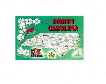 1960s Map Postcard of North Carolina, Unposted, Tar Heel State, Old North, Listed Facts About State, Vintage Travel Souvenir Ephemera