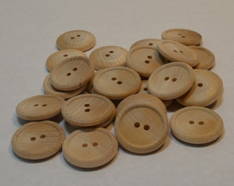 """1"""" Wood Buttons - Set of 25 - 1 Inch Button - Unfinished Wood - 1/8"""" Thick - Wooden Button - DIY - Clothes Button"""