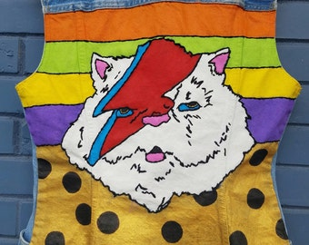 vintage vest jeans hand painted and stitched ziggy cat
