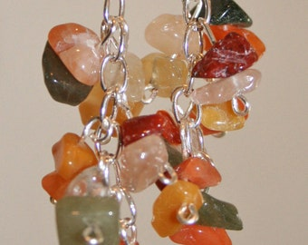 Multi-colored flourite dangle earrings
