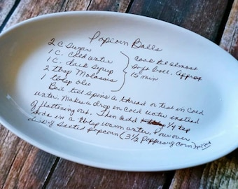 The Giving Plate, Chef Gift, Custom Pottery Sentimental Gift, Custom Recipe Personalized Gift, Custom Recipe Kitchen Pottery, Serving Dishes
