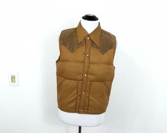 80's vintage woolrich yoke western style down vest size M