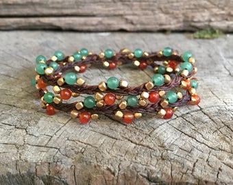 Jade Carnelian Braided Brass Cube Double Wrap Bracelet/ Boho Women Necklace