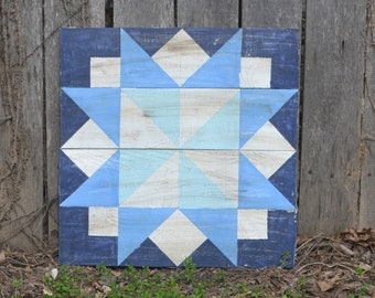 """Blue Barn Quilt Sign // 22""""x22"""" // Square Barn Quilt Patterned Sign"""