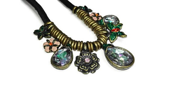 Tribal boho style leather necklace with charms