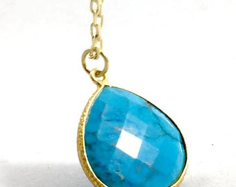 "Turquoise Gold Plated Necklace with 17"" Chain"