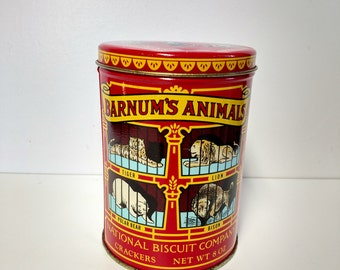 Barnum's Animal Tin Can Nabisco Biscuit Company Collectible Storage Bin