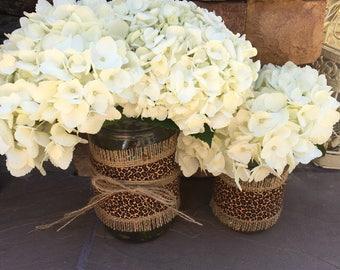 Mason Jar Wrap, Cheetah Print & Burlap, Mason Jar Decoration, Baby Shower, Party, Wedding Decoration