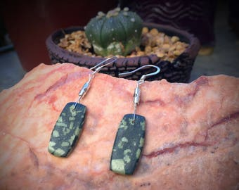 Chinese Writing Stone Earrings / Natural Stone Polished Earrings / Stone and Silver Dangle Earrings