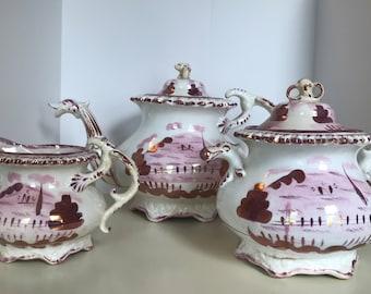 RARE Lusterware Lustreware Tea Set - Tea Pot, Creamer, Sugar Caddy - Mid Nineteenth Century