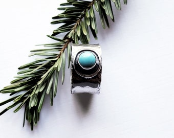 Wide Band Turquoise Ring, Southwestern Turquoise Jewelry, Organic Sterling Silver - Desert Oasis