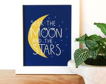 Suchen den Mond und die Sterne drucken, suchen, der Mond und die Sterne-Illustration, Illustration, Kunst Spruch Zitat