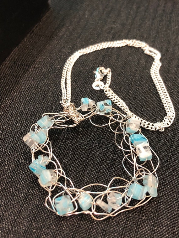 SJC10321 - Pendant Necklace - Sterling silver wire crochet square with light blue glass beads and sterling silver chain