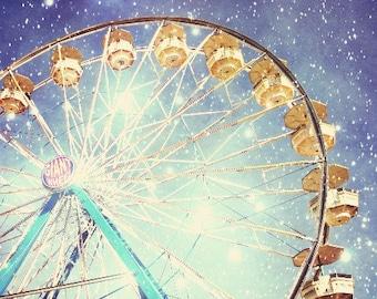 Fine Art Photography, Carnival Photography, Ferris Wheel, Stars,  Sparkly Lights, Indigo Blue, Night Sky,  Nursery Room Decor