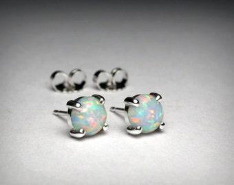 Opal Earrings, Sterling Silver, Simulated Opal Stud Earrings, October Birthstone Earrings, Imitation Opal, 14K White Yellow Gold Earrings