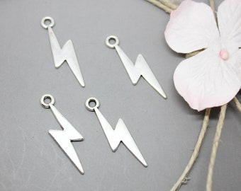 10 charms Charms silver lightning 29x10mm - SC0081072.