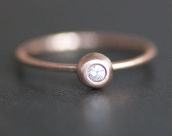 2mm Diamond Pebble Ring -14K Solid Recycled Rose Gold Band - Stacking Ring - Alternative Engagement Ring - Conflict Free Diamond (.03 Carat)