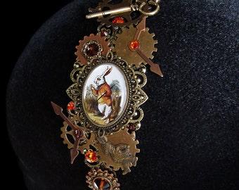 Headband Follow the White Rabbit Headdress Alice In Wonderland  Steampunk Clockwork Bronze Copper Clock Watch Hands Face Dial Key