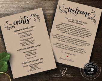 Wedding Welcome and Itinerary card, editable PDF template, Timeline card, Wedding weekend, welcome bag, welcome box, rustic theme (TED418_5)