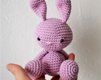 Amigurumi Kawaii rabbit with pink crochet hook