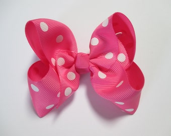 Baby/Toddler/Girl/Adult 4 Inch Boutique Hair Bows on Lined Alligator Clip - Hot Pink with White Spots