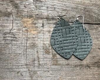 Seafoam Weave leather earrings