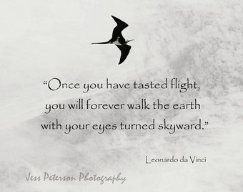 Inspirational Quote Typography Wall Art Bird In Flight Photo Print Nature Photography Black & White Home Decor Da Vinci JM Barrie Quote Art