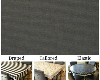 Laminated cotton aka oilcloth heavyweight tablecloth, fitted by TAILORING or fitted by ELASTIC or DRAPED, Dark Gray solid
