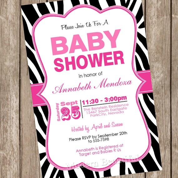 Girl Baby Shower Invitation Hot Pink And Black Zebra Baby