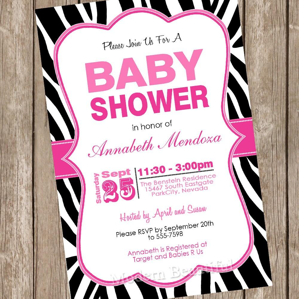 Girl baby shower invitation hot pink and black zebra baby zoom stopboris Gallery