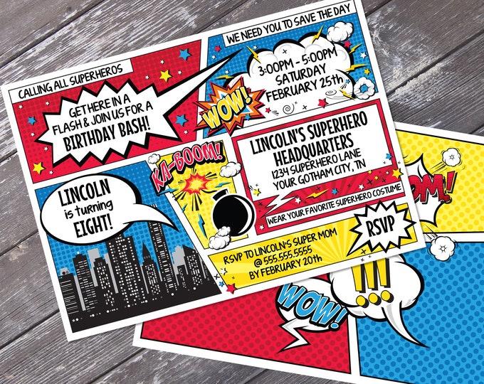 Superhero Invitation - Superhero Birthday Party, Comic Book Invitation, Self-Editing | DIY Editable Text INSTANT DOWNLOAD Printable