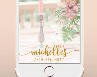 Birthday Snapchat Geofilter, Birthday Snapchat Filter, Custom Birthday Party Snapchat Filter, Custom Gold Silver Birthday Snapchat Filter