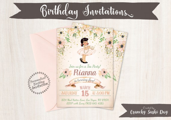Vintage Tea Party Customizable Birthday Invitations, Cute Birthday, Girl Birthday Invitations, Tea Party Birthday, Printable Invitations 044
