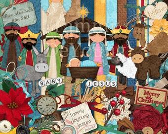 Nativity Clip Art Scrapbook Christmas digital kit, papers, elements, frames, Away in a Manger