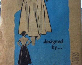 """R4636 Anne Adams Original 1950's Mail Order Misses wrapover skirt with pockets size small 25""""-26"""""""