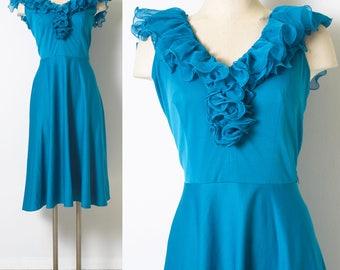 70s Dress, Vintage Blue Dress, Vintage Ruffle dress, Vintage party dress, Blue ruffle dress, Vintage Sleeveless Dress - M/L