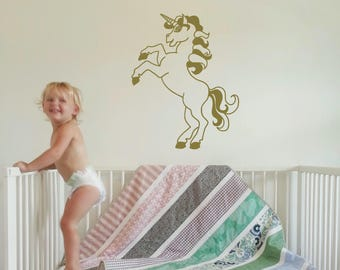 Unicorn Wall Decal - Metallic Gold unicorn decals - Cute girls wall decals - Children wall decal