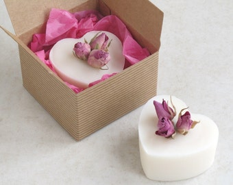 Rose Geranium Heart Soap - heart shaped soap - soap wedding favors - valentines day gift - vegan soap - pink rosebud soap - anniversary gift