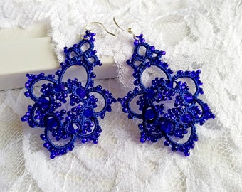 Blue lace earrings. Lace earrings. Tatted earrings. Lace jewelry. Blue earrings. Tatting lace frivolite