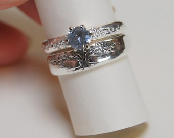 Wedding Band SET, Tree of Life Sterling Engagement White Sapphire Tapered band