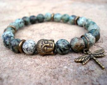 Buddha Bracelet, Dragonfly Bracelet, African Turquoise Bracelet, Beaded Stretch Bracelet, Turquoise Bracelet, Handmade Jewelry