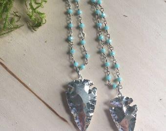 Silver Arrowhead necklace, silver arrowhead necklace, rosary necklace, Silver necklace, bohemian jewelry