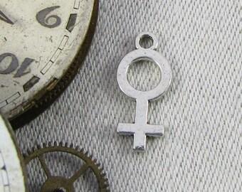 1 or 12, Female, Female Charm, Smaller, Female Symbol, Feminism, Feminist, Venus Symbol, Girl Power, Woman Symbol, Female Silver, SYM079