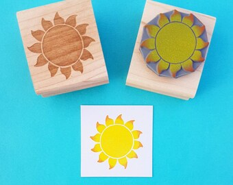 Sun stamp - Glowing Sun Rubber Stamper - Beach Wedding - Holiday Stamp - Wedding Invites - Sky - Tropical Wedding - Scrapbook - Weather